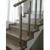 Перила для лестниц из нержавейки с деревянным поручнем